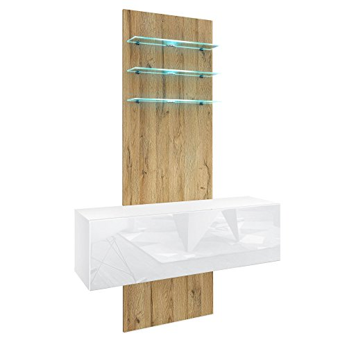 Vladon Flurmöbel Wohnwand Brooklyn, Korpus in Weiß matt/Fronten in Weiß Hochglanz, Paneel in Eiche Natur, inkl. LED Beleuchtung
