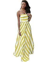 LILICAT Mujer Verano Vintage Boho Vestido Long Maxi Noche Partido Playa Sundress (Amarillo, XL