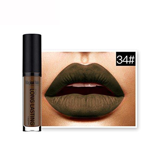 Rouges à lèvres,Covermason Imperméable à l'eau mate liquide rouge à lèvres longue durée Lip Gloss à lèvres (34#)