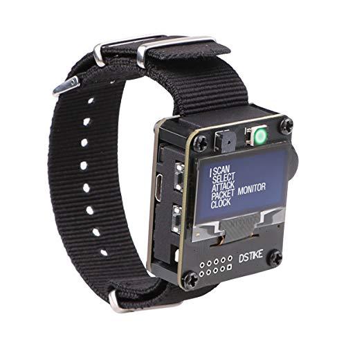 WiFi Testwerkzeug ESP8266 WiFi Deauther Watch DSTIKE NodeMCU ESP8266 Programmierbare Entwicklungsplatine eingebauter 500 mAh Akku mit OLED-Dispaly, Armband und 3D-Druckkoffer