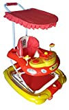 Her Home Luxury 7-In-1 Musical Baby Walker With Stroller & Umbrella - Red