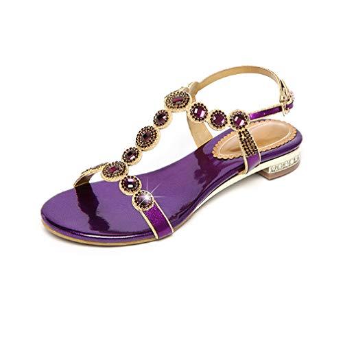 YAN Women es Low Heels New Summer PU Fashion Ladies Shoes Slingback/Peep Toe/Buckle Wedding Party & Evening Purple Gold Blue,Purple,34 Womens Fashion Slingback Heels