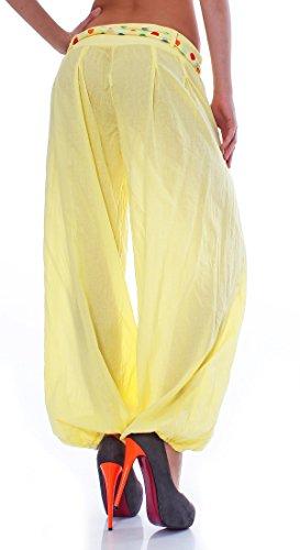 ZARMEXX Haremshose Pumphose mit Gürtel Pluderhose Uni-Farben Ballonhose Aladinhose Harem Hose Sommerhose Yoga One-Size Gelb