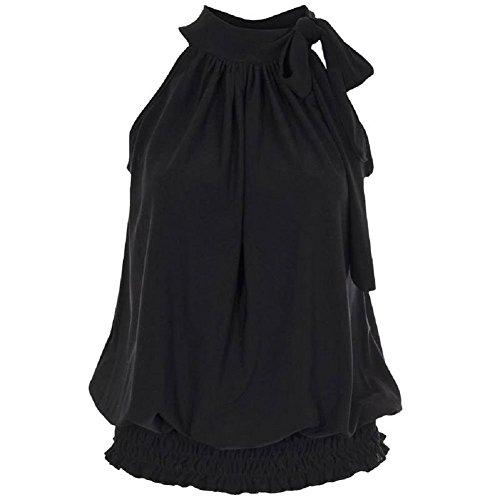 Flirty Wardrobe Haut dos-nu Sans manches pour femme Débardeur Long avec Taille 36–50 Noir - Noir