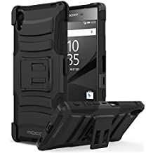 Sony Xperia Z5 2015 Phone Funda - MoKo [Heavy Duty] Full Body Rugged Holster Funda Con Swivel Belt Clip - Dual Layer Shock Resistant para Sony Xperia Z5 5.2 Inch Smartphone 2015 Edition, Negro