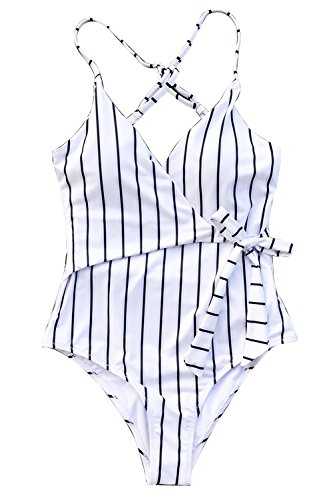 Kostüm Fedex Mädchen - CUPSHE Bleib Jung Streifen Badeanzug, XL