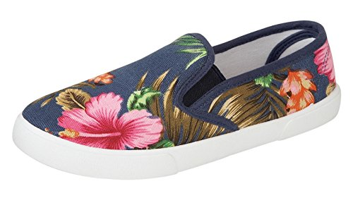 Saute Styles , Chaussures de sake femme - BLUE PALM BEACH BRIGHT TROPICAL
