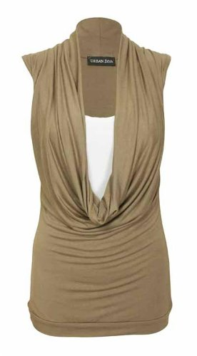 Nuovo da donna elasticizzato Contrasto Strato Cowl Neck Tops 16–26 Mocha