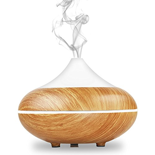 YZCX 500ml Aroma-Diffuser Humidifier Ultraschall Luftbefeuchter Aromatherapie Öle Diffusor Tragbarer Holzmaserung mit 7 Farben LED Licht für Wohnzimmer, Kinderzimmer, Schlafzimmer, Baby- und Yogazimmer, SPA, Büro (Luft-therapie-spray)