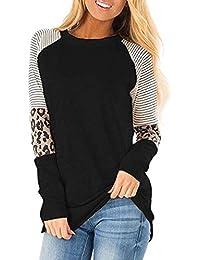 Mujer Casual Suelto Jersey Suéter Pullover Camiseta a Rayas Sudadera con Manga Larga Jerséis T-Shirt tee Túnica Tops