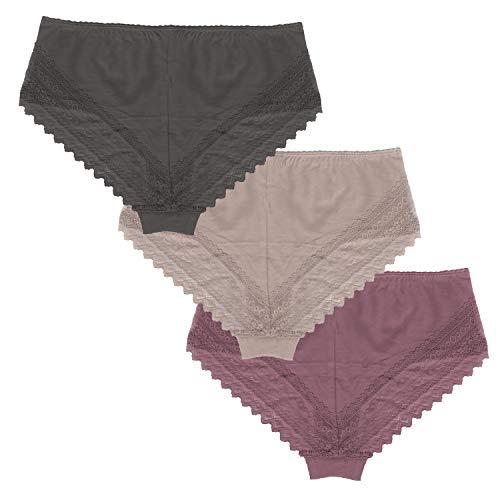 Linda Loom Damen Panty Hipster Slips Poppy Baumwolle Elasthan 3-er-Set Anthrazit Sand Beere Gr. L 44-46 - Loom 3-pack-slips