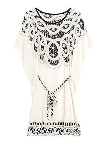 Tunique Plage Blanche - YOUJIA Femme Robes Shirts Elegant Dessin Fleur