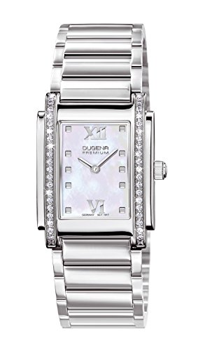 Dugena Women's TENERO STONE Quartz Watch with Mother Of Pearl Dial Analogue Display and Silver Stainless Steel Bracelet