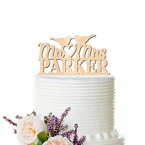 Andrea1Oliver Liebe V?Gel Hochzeitstorte Topper Holz personalisierte Cake Topper Nachname Hochzeitstorte Topper benutzerdefinierte Holz Peachwik Holz Cake Topper -