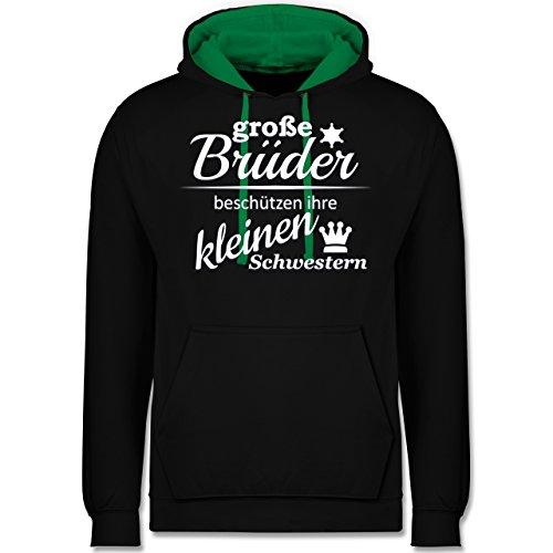 Sprüche - Große Brüder - Kontrast Hoodie Schwarz/Grün