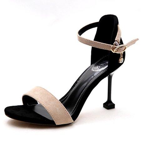 Chaussure Shaoge Chaussures De Travail Été Fuite Toe Suede Fine Heel Talons Tempérament One Word Boucle Sandales Sandales Pour Femme Couleur Unie