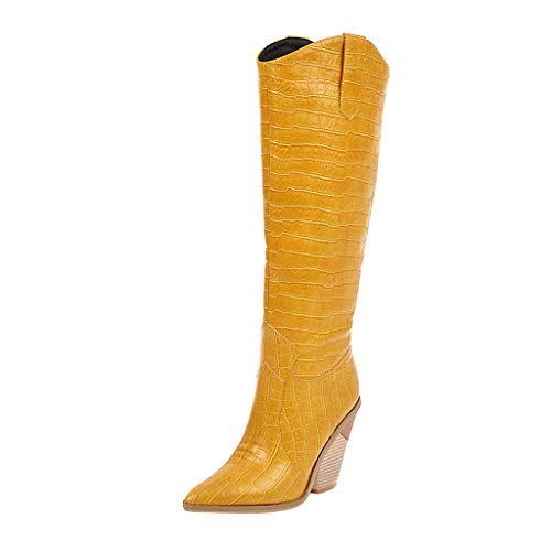 LILIHOT Damen Wedges Pointed Toe Stiefel Bequeme Bestickte Western Rodeo Cowboystiefel Overknee Outdoor Classic Boots Winter Lange Knie Knight Style Boots Freizeit Stiefel