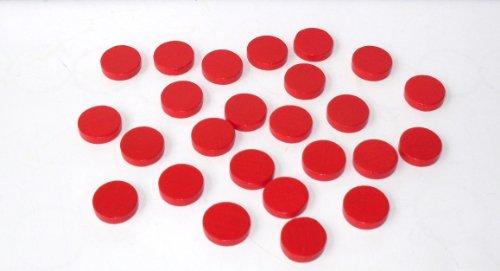 100 Spielchips , Roulette Spielmarken , Zählchips aus Holz , rot , 15mm x 4mm