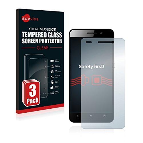 Savvies Panzerglas kompatibel mit Huawei G Play Mini [3er Pack] - Echtglas Schutzfolie 9H