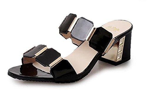 Womens Mid Heel Sandals, Summer Peep Toe Stiletto Ladies Barely No Ankle Shoes Fashion Flip Flops,Black,36