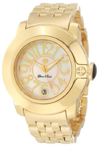 Glam Rock GR31008 - Reloj de Pulsera para Mujer con Esfera de Perlas Blancas y nácar Chapado en Oro y Acero Inoxidable