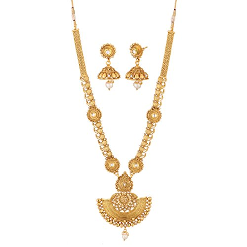 Apara Gold American Diamond And Pearl Long Strand Haram Necklace With American Diamond And Pearl Earrings Jewellery Set For Women