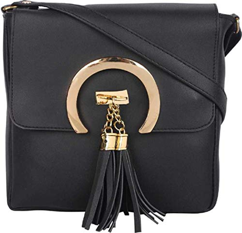 SAHAL Leatherette PU Tassel Cross Sling bag for Women and Girls College Office Bag, Stylish latest Designer Spacious Cross Body Bag Purse with Sling Belt. Gift for Her (BLACK)