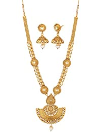Apara Gold Plated American Diamond & Pearl Long Strand Haram Necklace Set With Earrings For Women