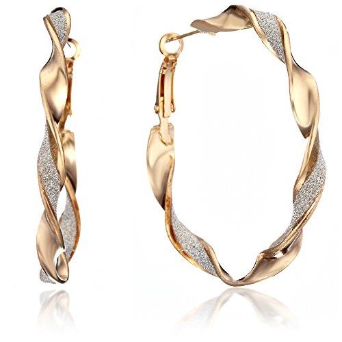 Gemini Damen Schmuck, Twisted Infinity Große Große runde Ohrringe GM150, Größe: 5.08 cm), matt, Farbe: Gold (Twisted Gold Creolen)