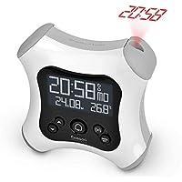 Oregon Scientific RM330P - Despertador digital retroiluminado controlado por radio con proyector y temperatura interior (Blanco)