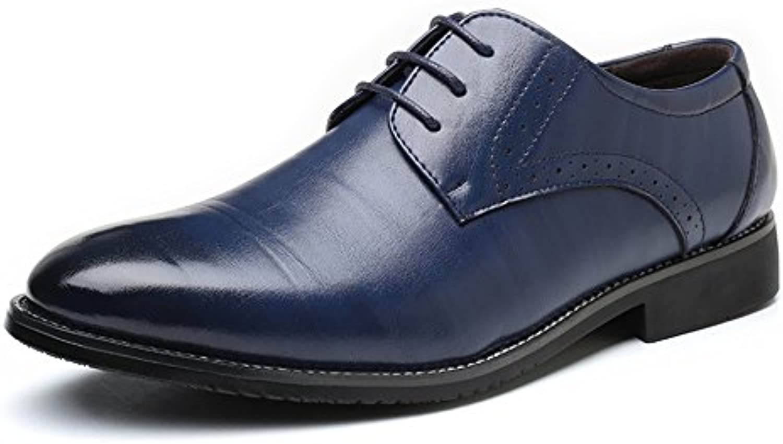 Fang-shoes, 2018 Zapatos Hombre, Zapatos de Hombre de Negocios Formales Zapatos de Cuero de PU Clásicos Acanalados...