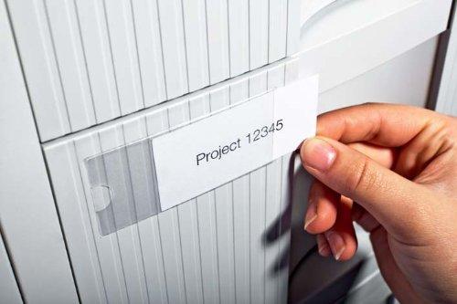Durable 802119 Pocketfix, Selbstklebetaschen für Einsteckschilder (35 x 76 mm, 74 x 32 mm) Beutel a 10 Stück transparent