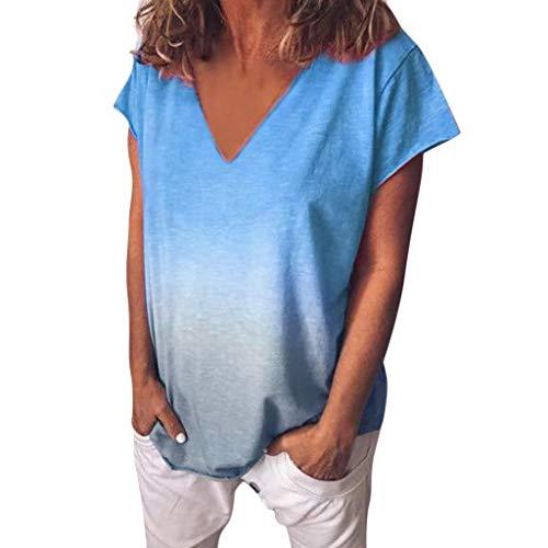 Frauen Casual V-Ausschnitt Kurzarm Farbverlauf Tie-Dye Print Short Casual Top Bluse ()
