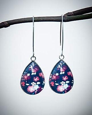 Boucles d'oreilles longues bleu marine, fleur orange passion, cabochon goutte en verre, long crochet acier inoxydable argent
