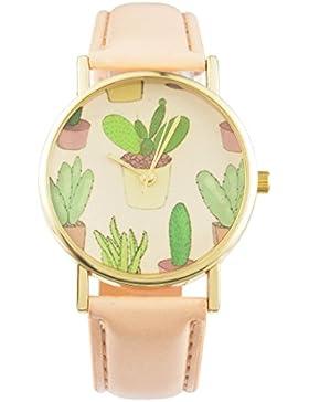 Souarts Damen Einfach Design Kunstleder Kaktus Armbanduhr Quartzuhr Analog mit Batterie Beige