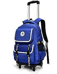 RYC Trolley Bag Cadeaux Rentrée Scolaire Sac à Dos avec Roulettes Cartable à Roulette Sac Enfant Scolaire Loisir Voyage Fille Garçon Primaire Maternelle 6 Roues Vert 49 32 18cm