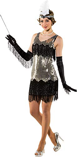 Ladies 1920s Glamourous Silver Sequin Layered Fringe Flapper Swing Dance Jazz Theme Fancy Dress Costume Outfit (UK 10-14) Flapper 20s Fringe
