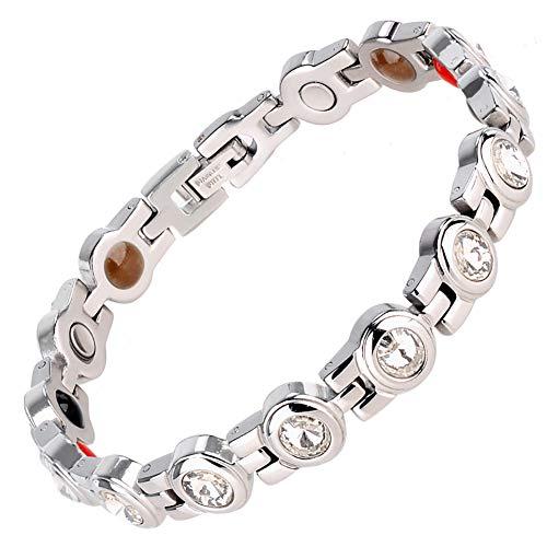 ZSML Damen-magnetarmband, Silber-Finish Natürliche Schmerzlinderungstherapie Durch Magnetische Armbänder - Mit Werkzeug Und Geschenkbox Entfernen,White
