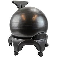 POWRX – Oficina Fitness – Silla con asiento de pelota Fitness – Ball chair con ruedas - Perfecta para ALINEAR la columna vertebral – Fit Chair Oficina y Casa