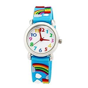 Analoge Kinderuhr für Jungen und Mädchen, süße wasserdichte Lernuhren für Kinder, 3D Kinderlernuhr Cartoon-Armbanduhr für Kleinkinder, das beste Geschenk für Kinder blaues Zebra – von ARPDJK