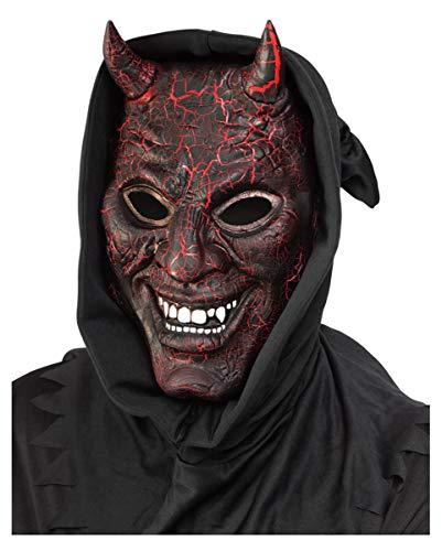 Horror-Shop Glühende Luzifer Maske mit - Luzifer Für Erwachsenen Kostüm