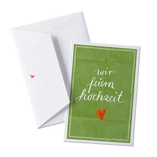 50 x Hochzeitseinladungen-Set inkl. Druckservice - wir feiern hochzeit - Grün mit individuellem Text auf der Rückseite Hochzeitseinladung Einladungskarten-Set Büttenpapier bedruckt