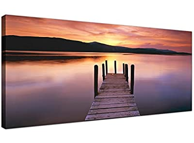 Wide Canvas Wall Art of a Lake Sunset for your Living Room - Modern Landscape Canvas Pictures - 1214 - Wallfillers®