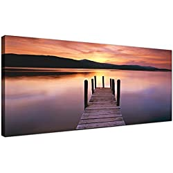 Wide Canvas Wall Art of a Lake Sunset for your Living Room - Modern Landscape Canvas Pictures - 1214 - WallfillersÃ'® by Wallfillers