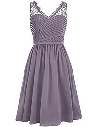 HUINI Sheer Lace V-cuello corto dama de honor Vestidos Vestidos de Fiesta Prom