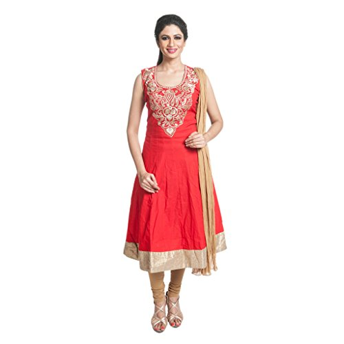 Cynthia's Fashion, CFK264_COT_AK_SS, Solid Color Salwar Suit, Cotton Emboridered Kurta, Anarkali Cut with Cotton Churidar or Leggings and Dupatta Set  available at amazon for Rs.1999