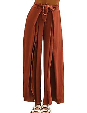 BoBoLily Primavera Verano Elegantes Mujer Pantalones Rectos con Cinturón Anchos Delgado Abiertas Estilo Largos...