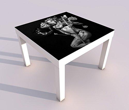 V Druck 55x55cm schwarz weiß Sexy Teufel Kürbis Hexe Halloween Spieltisch Lack Tische Bild Bilder Kinderzimmer Möbel 18A758, Tisch 1:55x55cm (Sexy Halloween Bilder)