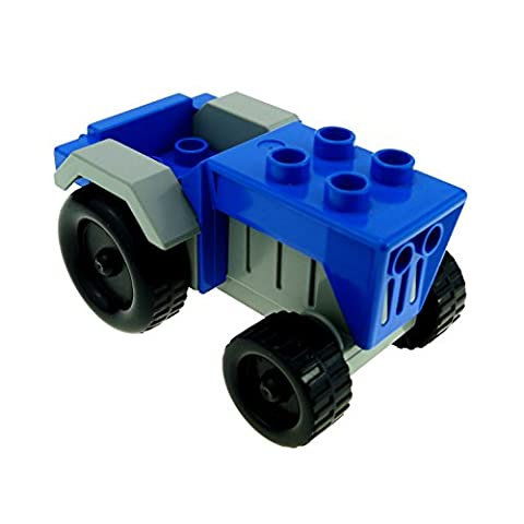 1 x Lego Duplo Fahrzeug Traktor blau alt-hell grau Auto Bauernhof Tier Hof Set 9133 klein tractor