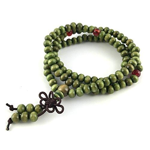 GOOD.designs Mala Perlenkette aus 108 Holzperlen, Buddhistisch Tibetisches Gebetsarmband in Grün